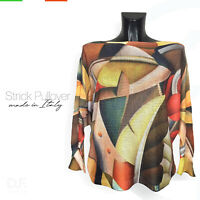 Strick Pullover *Made in Italy 'Art' Print  Muster Langarm Pulli Gr: 38-46