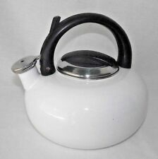 Art Deco Tea Pot Teapot Kettle White Black Round Handle Metal Modern Sleek Curve