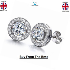 Men's/Boy's: Fashion 18ct White Gold Plated Crystal Diamond Earrings Studs UK
