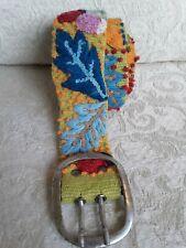 Jenny Krauss Sz M 100% Wool Belt Embroidered Leaves Ladybugs Flowers Peru Boho
