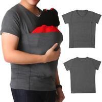 Men's Dad Baby Carrier T-Shirt Wrap Maternity Kangaroo Bag Care Bonding Shirt