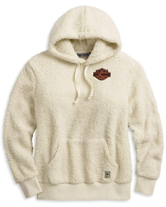 Harley-Davidson Women's Thick Soft Sherpa Pullover Hoodie Off-White, X-Small