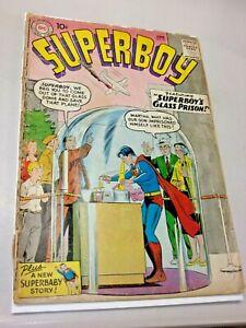 """Superboy #73 Good  6/59 """"Superboy's Glass Prison!"""" Tape on Spine"""