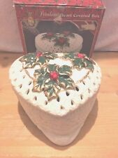 Porcelain Heart Shaped Trinket Box With Holly and Berries On Lid, Free Shipping