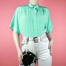 VINTAGE 80s 90s Teal Blue Green Turquoise Embroidered Pleat Blouse Shirt Top 12