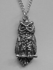 Chain Necklace #243 Pewter OWL (24mm x 10mm) Bird Animal