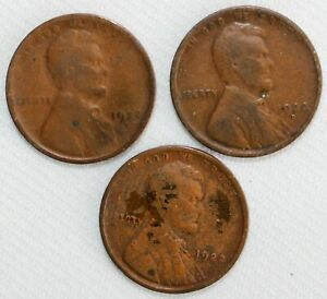 Lot of 3 1922 D Lincoln Wheat Cents Coins Average Circulated 1c US Pennies YG