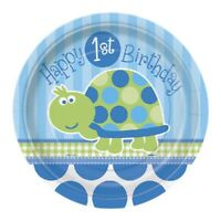 """8 x 7"""" Paper Plates Boys Turtle 1st Birthday Party Tableware Supplies Blue Baby"""