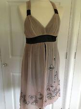 KAREN MILLEN black & nude pink 100% SILK chiffon butterfly layered dress UK 10