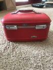 Vintage American Tourister Tiara Train Makeup Case Red Travel Hard Shell