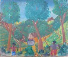 "Haitian Folk Painting  Jn. Marcelin  8""X10"" Oil on Wood Haiti Art 1960's Vintage"