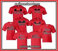 MOM AND DAD T-SHIRTS COUPLES DESIGN MICKEY AND MINNIE SON DAUGHTER SISTER