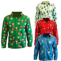 MENS ADULTS NOVELTY CHRISTMAS PRINT CASUAL LONG SLEEVE SHIRT XMAS NOVELTY BLOUSE