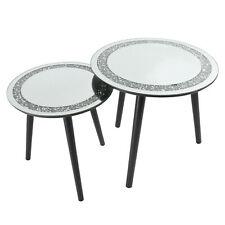 Set Of 2 Bling Crushed Diamond Side Tables Sparkly Home Decor Nest of Table