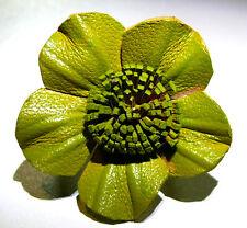 BAGUE CUIR FLEUR VERT ETHNIQUE TAILLE RÉGLABLE VERTE LEATHER RING GREEN FLOWER