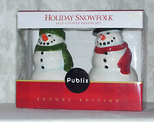New Publix Holiday SnowFolk Salt & Pepper Shakers 2006 Christmas Snowman & lady
