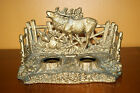 Vintage Cast Iron Deer Double Inkwell