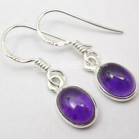 925 Sterling Silver OVAL PURPLE AMETHYST Gemstone BESTSELLER Earrings 1 Inch