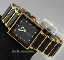 New Black&golden Normal Ceramic & Steel Men's Square Quartz Diamonds Wrist Watch