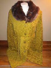 Womens MERONA size XXL green and tan/gold patterned full length pea coat
