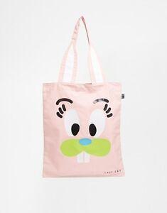 Lazy Oaf Pink Bunny Shopper Book Bag Womens Tote Bag - New