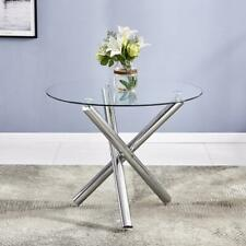 Hot Style Round Dining Table Chair Glass Metal Kitchen Dining Room Breakfast New