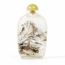 """Antique Quartz Crystal Inside Painted Snuff Bottle 3.25"""" with Corked Lid & Spoon"""