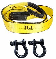 "Off Road Recovery Kit (1)3"" x 8' Tree Saver Strap & (2) 3/4"" D Rings Tow ATV Tow"