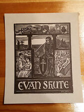 Ex Libris Bookplate for Evan Shute - signed, woodcut illustration family Knight