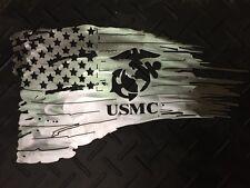 Torn American battle flag, USMC 4 feet long