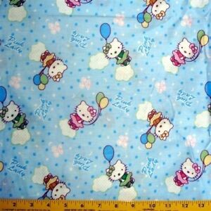 "Hello Kitty Pink Lady & Balloon 63"" Wide Blue Cotton Fabric By The Yard"