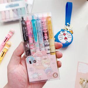 6pcs Kuromi Cinnamoroll Hello Kitty Melody Gel Pen Black Ink 0.5mm Study Office