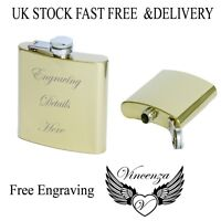 Personalised Engraved Gold 6oz 8ozHip Flask Usher Groom BestMan Birthday Wedding