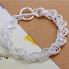925Sterling Silver Whole Flash Wrest Circle T-O Unisex Chain Bracelet Hp240