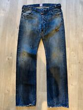 PRPS Made In Japan Distressed Faded Grease Marks Regualr Fit Jeans 32/34