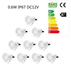 10x 0.6W Boden Einbaustrahler LED Leuchte Außenlampe Minispot Wasserdicht DE