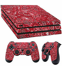 PS4 Pro Skin Red Paisley pattern Bandana Do Rag Sticker + 2X Pad decal Vinyl LAY