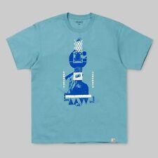 Carhartt WIP S/S Stacks T-Shirt uomo verde acqua con stampa