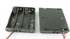 "Battery Holder Box Case 4 x AAA/3A Cells 6V With 6"" Lead Wire Black"