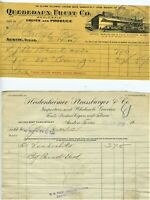 1917 1918 AUSTIN TEXAS BILLHEADS QUEBEDAUX FRUIT & HEIDENHEIMER STRASSBURGER CO.