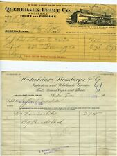 1917 1918 AUSTIN TEXAS BILLHEADS QUEBEDAUX FRUIT & HEIDENHEIMER STRASSBURGER CO.
