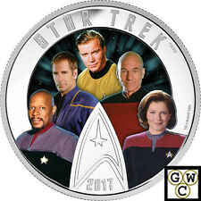 2017'Star Trek(TM)Five Captains'Color Prf $30 Silver Coin 2oz .9999Fine(18103)NT