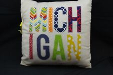 Michigan Canvas Embroiderd Pillow Cover with Insert
