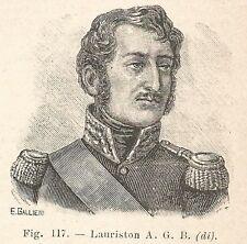 B1912 Jacques Alexandre Law de Lauriston - Incisione antica del 1928 - Engraving