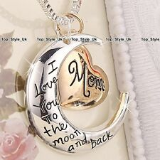 XMAS GIFTS FOR HER - Unique Rose Gold & Silver Heart Love Necklace Mum Women K9