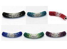 10pcs/lot 45mm pave mixed long bending tube gradual crystal shamballa beads