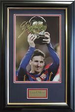LIONEL MESSI SIGNED PHOTO FIFA Ballon d'Or Barcelona Signed Framed Photo