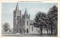 PRARIE DU CHIEN WISCONSIN ST GABRIEL'S CHURCH POSTCARD c1940s