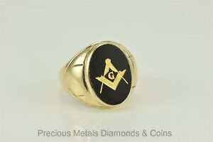 Antique 10k Yellow Gold 19mm Black Onyx Freemason Signet Ring 7g Sz: 9.5