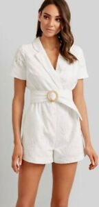 Kookai Palm Embroidery White Playsuit BNWT RRP $180